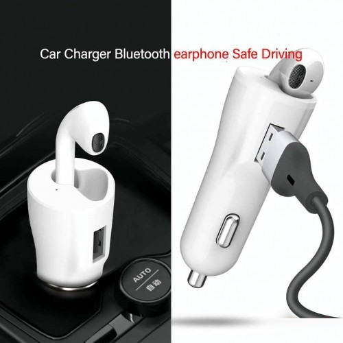 Зарядно за автомобил 12V XO-CB1 + Bluetooth слушалка Бял