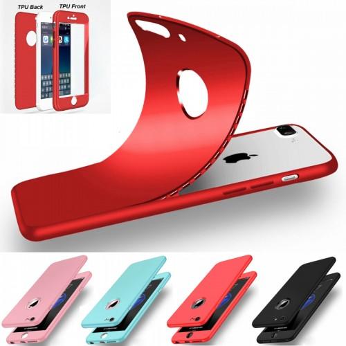 360 градусов калъф TPU за Apple iPhone 5/5S/SE + Стъклен протектор Червен