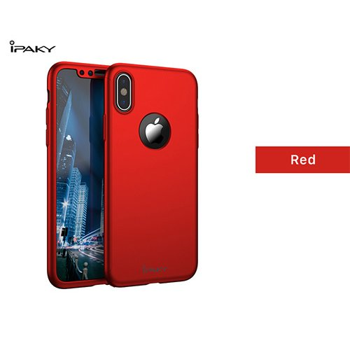 iPaky 360 градусов калъф за Apple iPhone 7 Plus/8 Plus + Стъклен протектор Червен