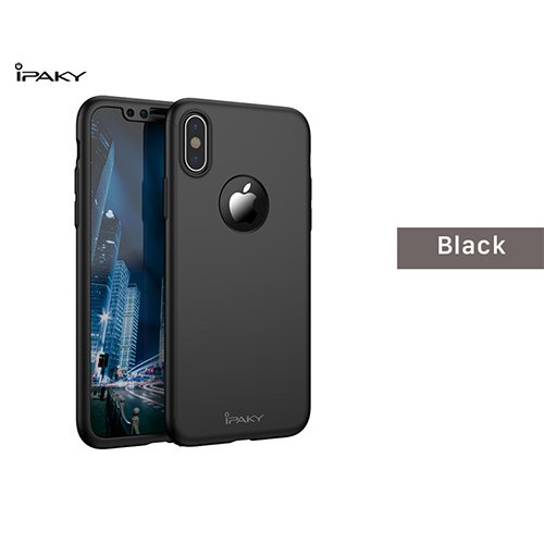 iPaky 360 градусов калъф за Apple iPhone 7/8 + Стъклен протектор Черен