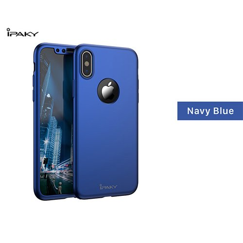 iPaky 360 градусов калъф за Apple iPhone 7/8 + Стъклен протектор Син