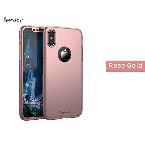 iPaky 360 градусов калъф за Huawei Y5 2018 + Стъклен протектор Розово Злато