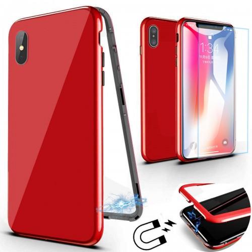 360 градусов Магнитен калъф + Стъклен протектор за Apple iPhone 7 / 8 Червен