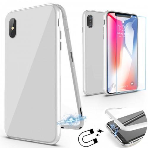 360 градусов Магнитен калъф + Стъклен протектор за Apple iPhone X / XS Бял