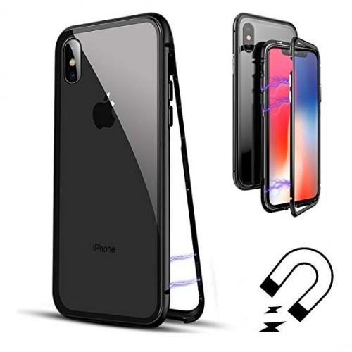360 градусов PVC Магнитен калъф за Apple iPhone X / XS Черен