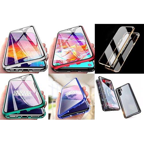 iLuphie 360 градусов Магнитен калъф + Стъклен протектор за Samsung A105 Galaxy A10 Червен