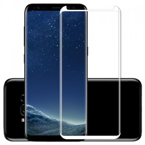 4D Equiptors Стъклен скрийн протектор за Samsung G955 Galaxy S8 Plus Сребърен