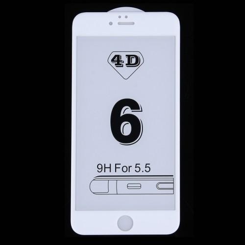 4D Стъклен скрийн протектор за Apple iPhone 8 Plus Бял