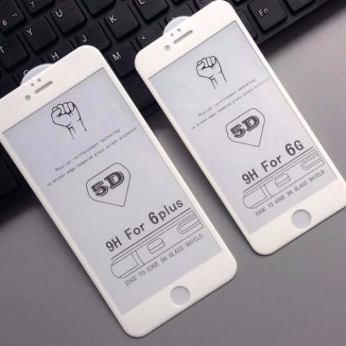 5D Стъклен скрийн протектор за Apple iPhone 7 Plus 5.5 Бял