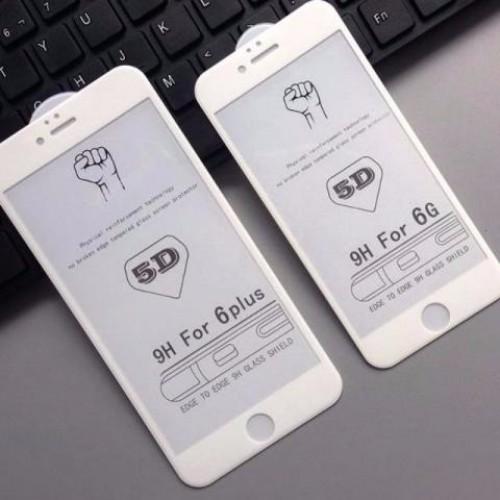 5D Стъклен скрийн протектор за Apple iPhone X 5.8 Бял