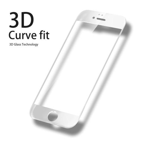3D Стъклен скрийн протектор за iPhone 6 Plus/6S Plus Бял
