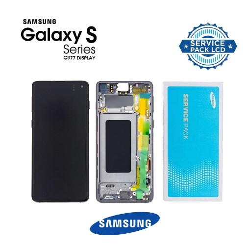 LCD Дисплей + Тъч скрийн + Рамка за Samsung G977 Galaxy S10 5G Сребрист