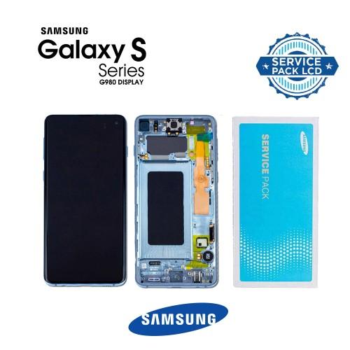 LCD Дисплей + Тъч скрийн + Рамка за Samsung G980 Galaxy S20 Син