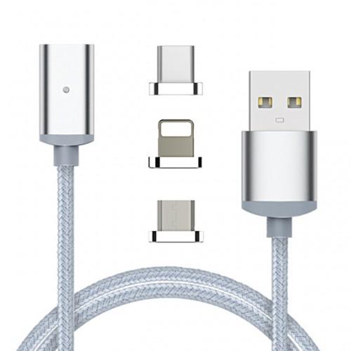 3в1 магнитен USB кабел micro USB + Lightning + Type C конектор Сребърен