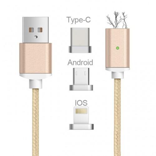 3в1 магнитен USB кабел micro USB + Lightning + Type C конектор Златен