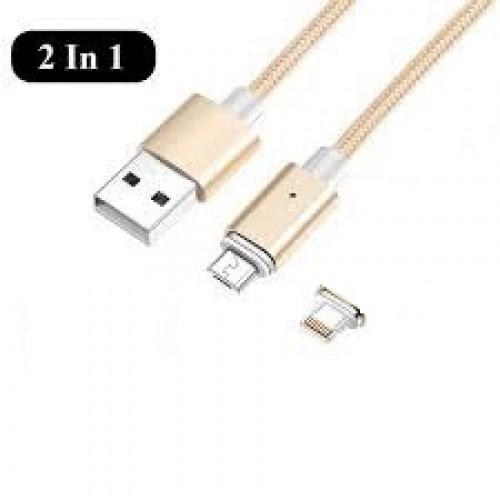 G4 2в1 магнитен USB кабел micro USB + Lightning iOS конектор Златен