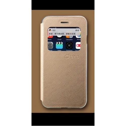 Flip калъф UFO за Samsung G925 Galaxy S6 Edge Златен